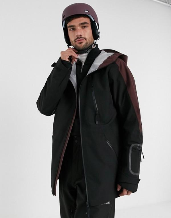 エイソス メンズ ジャケット・ブルゾン アウター ASOS 4505 ski hooded jacket with contrast panel Black/burgundu