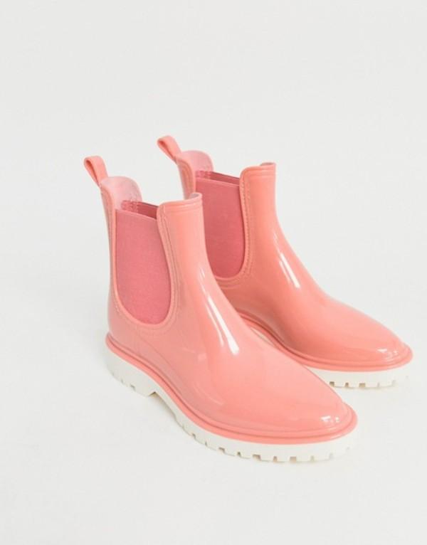 エイソス レディース ブーツ・レインブーツ シューズ ASOS DESIGN Gentle chunky chelsea rain boots Pink