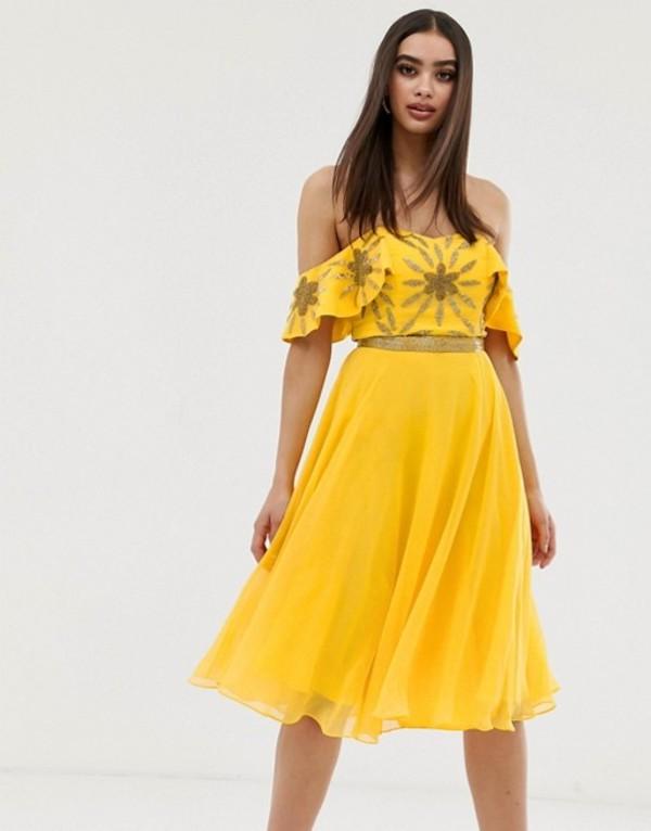 ビルゴスラウンジ レディース ワンピース トップス Virgos Lounge off shoulder embellished top midi skater dress in yellow Yellow