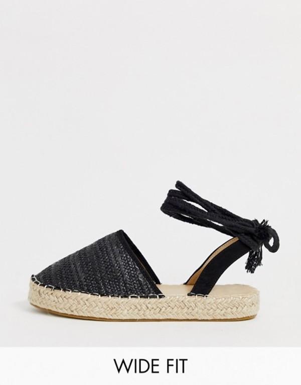 トリュフコレクション レディース サンダル シューズ Truffle Collection Wide Fit woven tie leg espadrilles Black