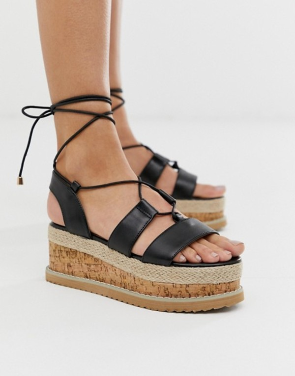 トリュフコレクション レディース サンダル シューズ Truffle Collection lace up espadrille flatorm sandals Black