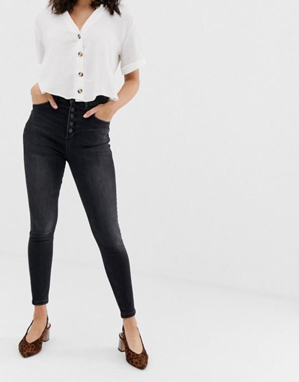 ストラディバリウス レディース デニムパンツ ボトムス Stradivarius 4 button super skinny jean in washed black Black