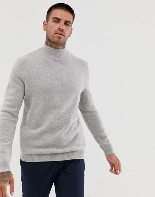 エイソス メンズ ニット・セーター アウター ASOS DESIGN lambswool turtleneck sweater in light gray Light grey