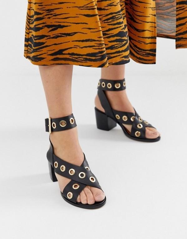 リバーアイランド レディース サンダル シューズ River Island heeled sandals with eyelet detail in black Black