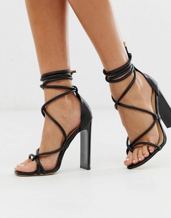 トリュフコレクション レディース サンダル シューズ Truffle Collection tie leg heeled sandals in black Black pu