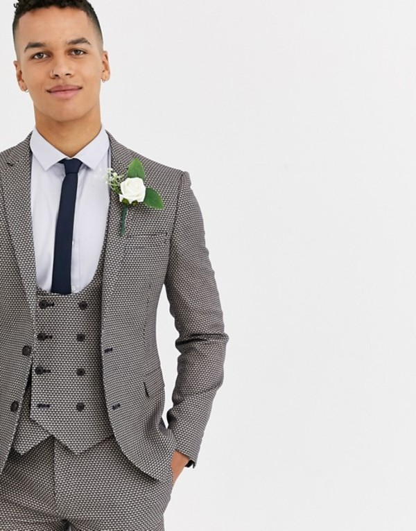 エイソス メンズ ジャケット・ブルゾン アウター ASOS DESIGN wedding super skinny suit jacket in micro texture in tan Tan