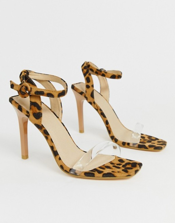 トリュフコレクション レディース ヒール シューズ Truffle Collection clear strap barely there heeled sandals in leopard Pale leopard micro