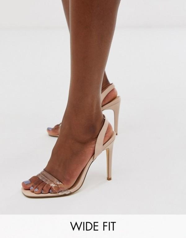 トリュフコレクション レディース サンダル シューズ Truffle Collection wide fit clear strap barely there square toe heeled sandals in beige Beige micro