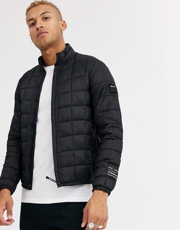 リプレイ メンズ ジャケット・ブルゾン アウター Replay recycled padded light weight puffer jacket in black Black
