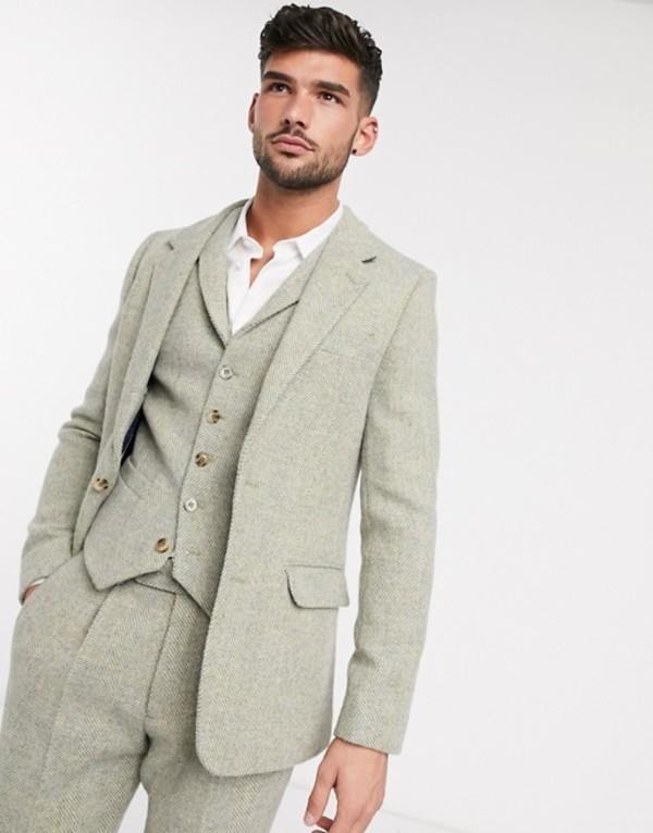 エイソス メンズ ジャケット・ブルゾン アウター ASOS DESIGN slim suit jacket in 100% wool Harris Tweed in stone herringbone Stone