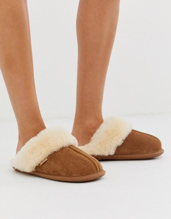 ジャスト・シープスキン レディース サンダル シューズ Just Sheepskin mule slippers Chestnut