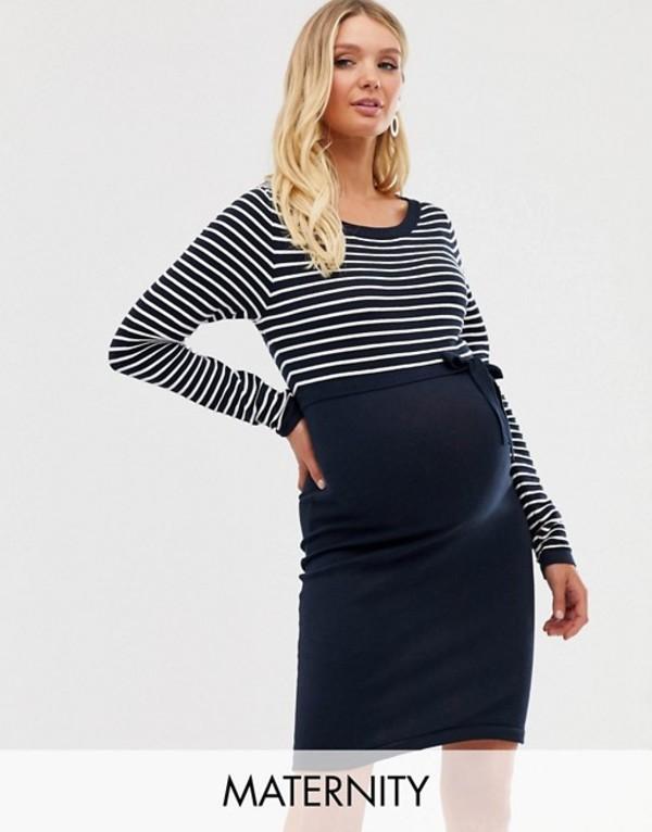 ママライシアス レディース ワンピース トップス Mamalicious stripe 2-in-1 knit dress Navy & white