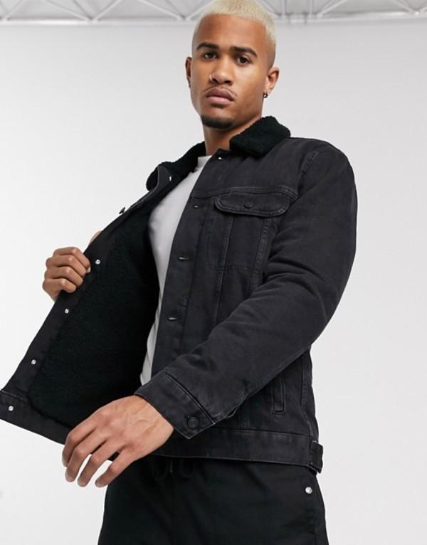 エイソス メンズ ジャケット・ブルゾン アウター ASOS DESIGN denim jacket in black with teddy lining Black