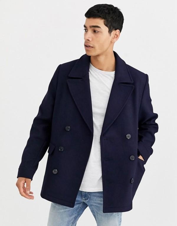 エイソス メンズ コート アウター ASOS DESIGN wool mix peacoat in navy Navy