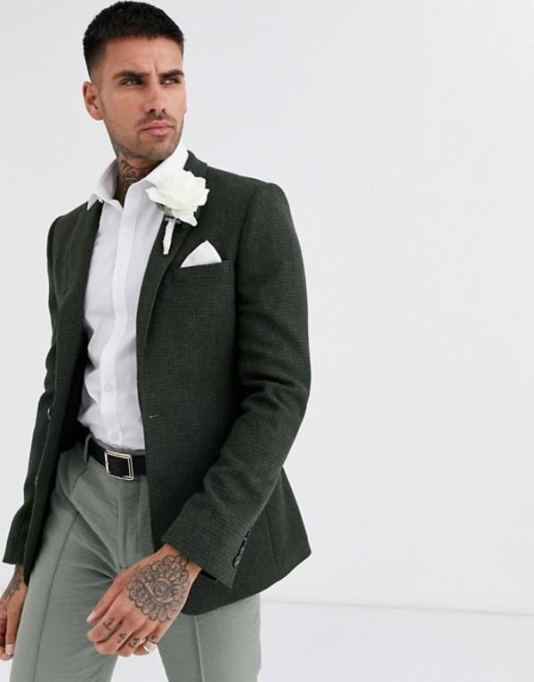 エイソス メンズ ジャケット・ブルゾン アウター ASOS DESIGN wedding super skinny wool mix blazer with puppy tooth in khaki Khaki