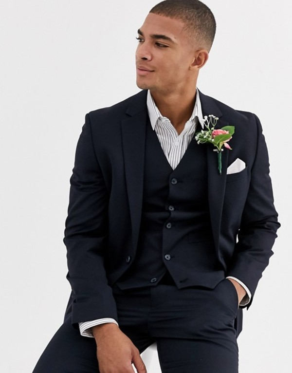 エイソス メンズ ジャケット・ブルゾン アウター ASOS DESIGN wedding skinny suit jacket in wool blend in navy Navy