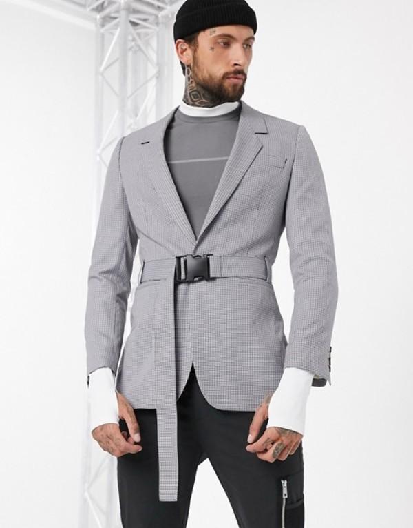 エイソス メンズ ジャケット・ブルゾン アウター ASOS DESIGN oversized blazer with belt in gray Grey