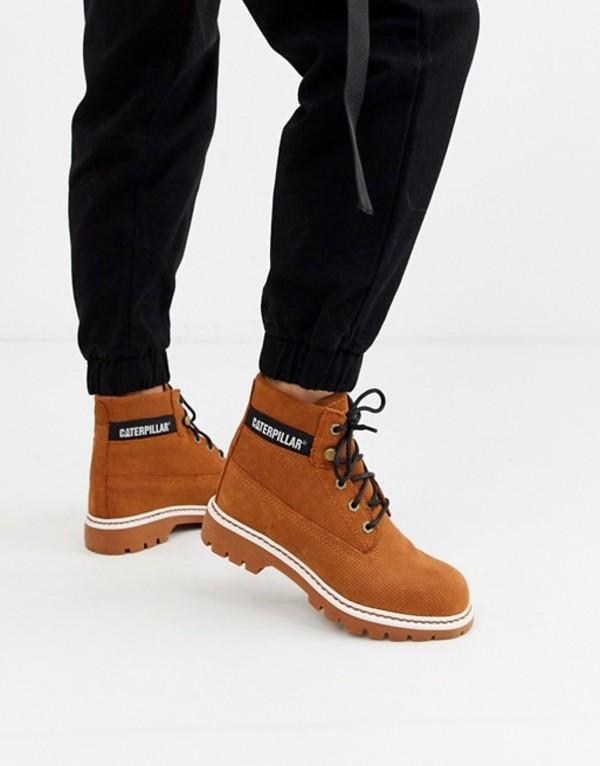 キャットフットウェア レディース ブーツ・レインブーツ シューズ CAT lyric corduroy suede lace up boots in rust Rust