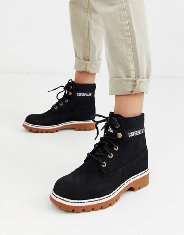 キャットフットウェア レディース ブーツ・レインブーツ シューズ CAT lyric corduroy suede lace up boots in black Black