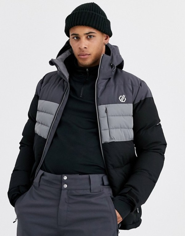 デアツービー メンズ ジャケット・ブルゾン アウター Dare 2b Ski Connate jacket in black Black and black ebon