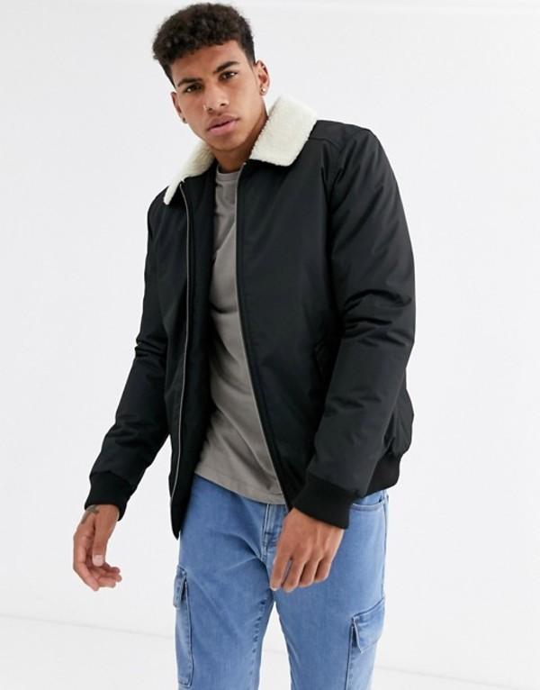スリードベア メンズ コート アウター Threadbare flight jacket with fleece collar Black