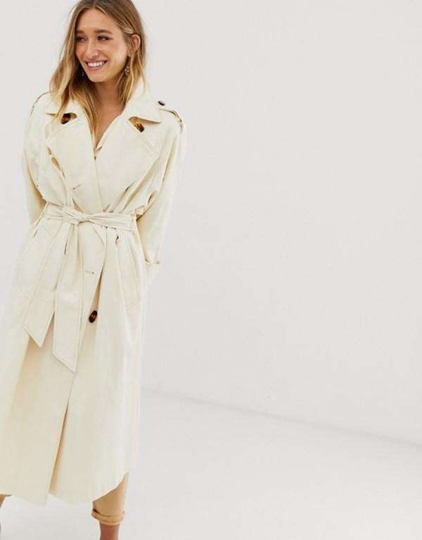 エイソス レディース コート アウター ASOS DESIGN longline trench coat with statement buttons Cream