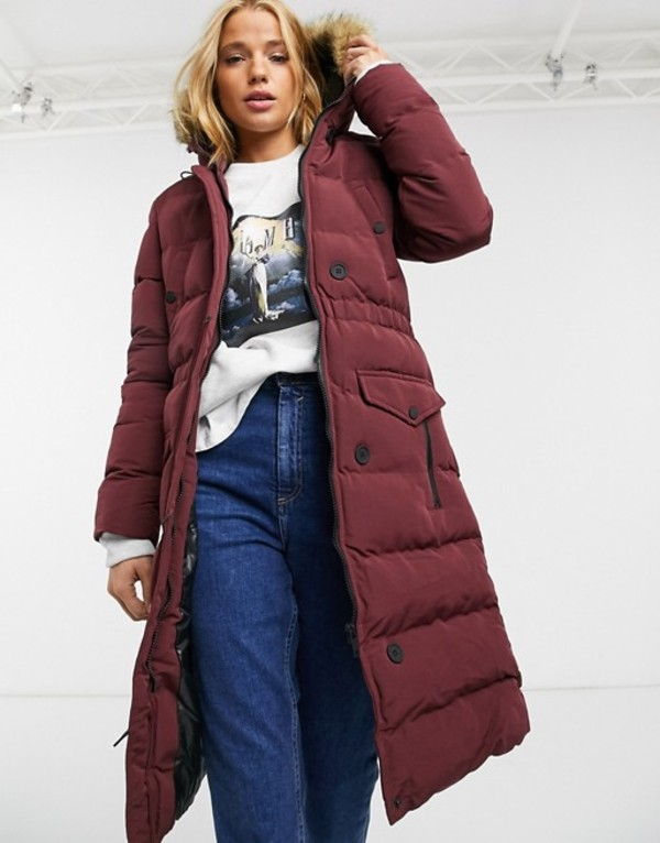 ブレーブソウル レディース ジャケット・ブルゾン アウター Brave Soul whitehorse padded long jacket with faux fur trim hood Burgundy
