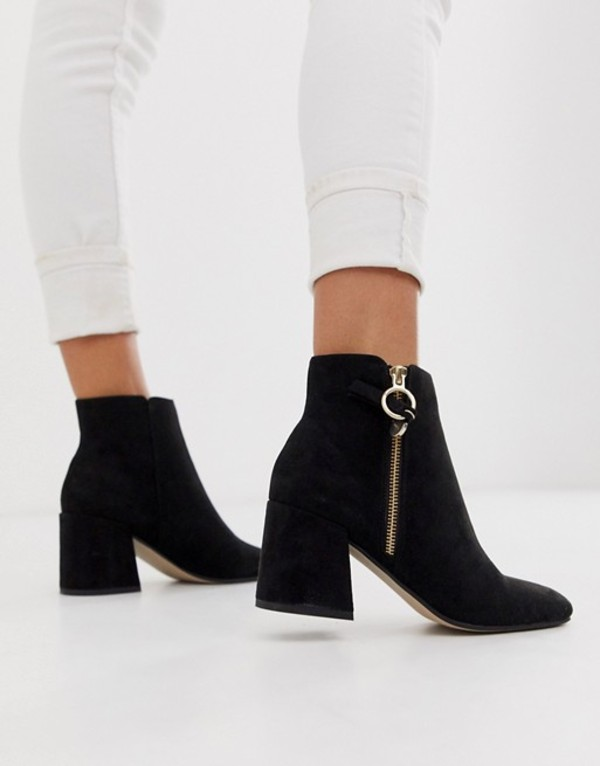 オフィス レディース ブーツ・レインブーツ シューズ Office Anthea suedette mid heeled ankle boots with side zip detail Black microfibre