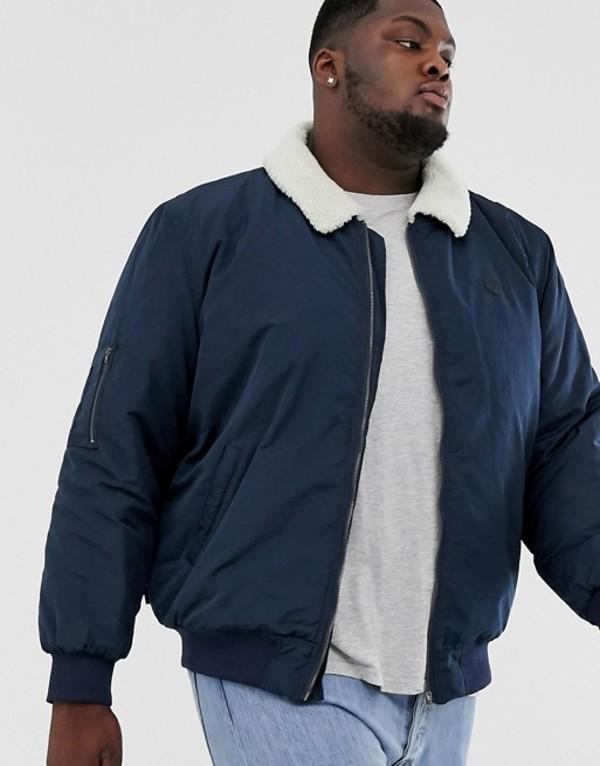 ル ブレーベ メンズ ジャケット・ブルゾン アウター Le Breve Plus fleece collar aviator jacket Navy