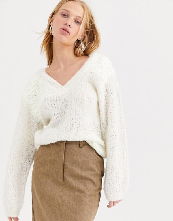 エイソス レディース ニット・セーター アウター ASOS WHITE mixed yarn longline v-neck Cream