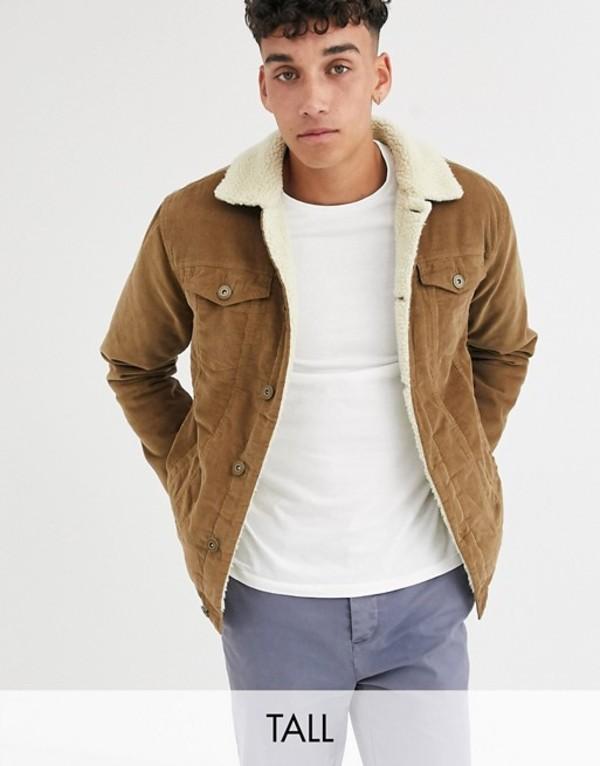 ル ブレーベ メンズ ジャケット・ブルゾン アウター Le Breve Tall borg cord jacket Brown