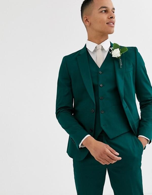 エイソス メンズ ジャケット・ブルゾン アウター ASOS DESIGN wedding skinny suit jacket in cotton in forest green Green