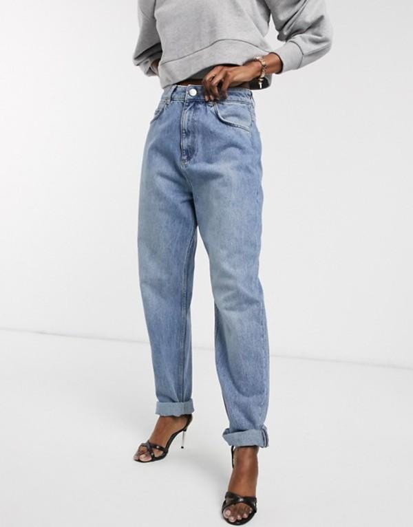 エイソス レディース デニムパンツ ボトムス ASOS DESIGN High rise 'slouchy' mom jeans in mid vintage wash Mid vintage wash