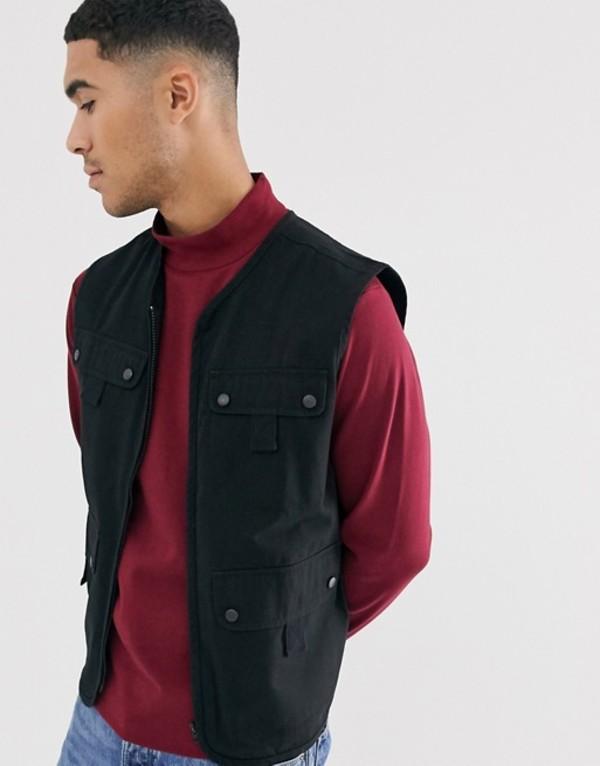 アナザーインフルエンス メンズ タンクトップ トップス Another Influence utility multi pocket vest Black