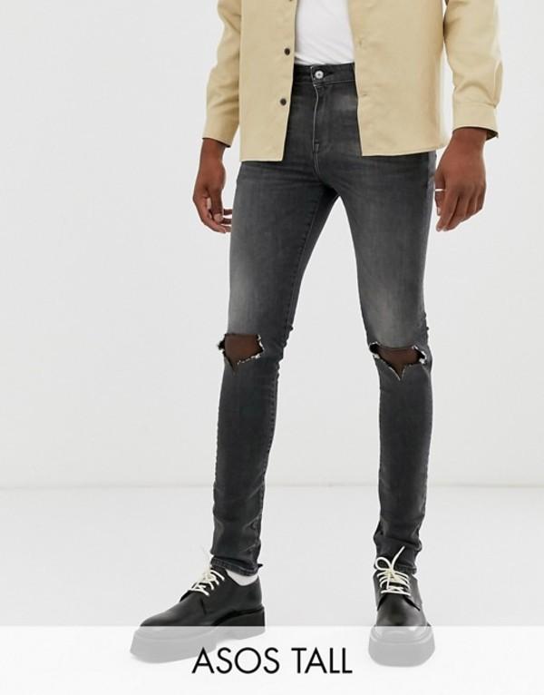 エイソス メンズ デニムパンツ ボトムス ASOS DESIGN Tall 12.5oz super skinny jeans in vintage washed black with busted knees Washed black