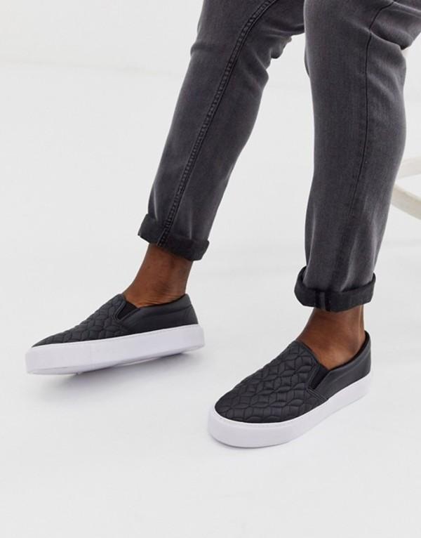 エイソス メンズ スニーカー シューズ ASOS DESIGN slip on sneakers in black with quilted detail and chunky sole Black