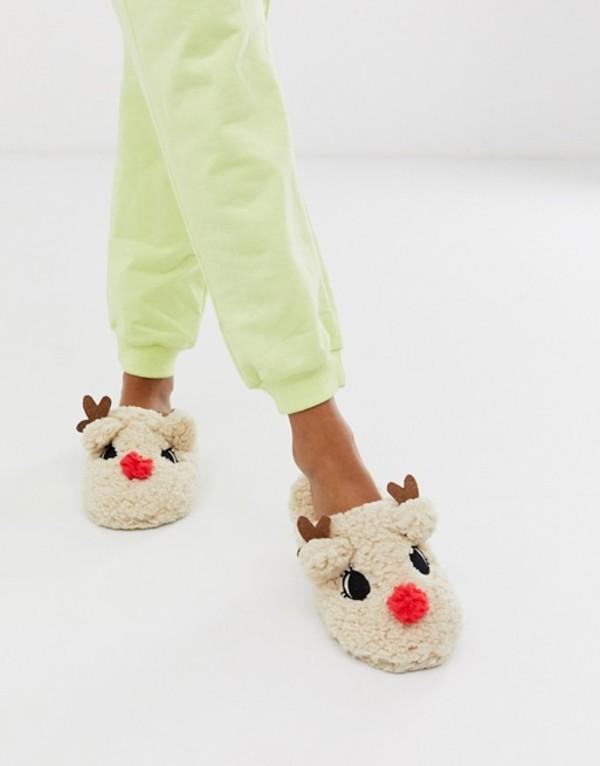 トリュフコレクション レディース サンダル シューズ Truffle Collection christmas reindeer slippers Brown