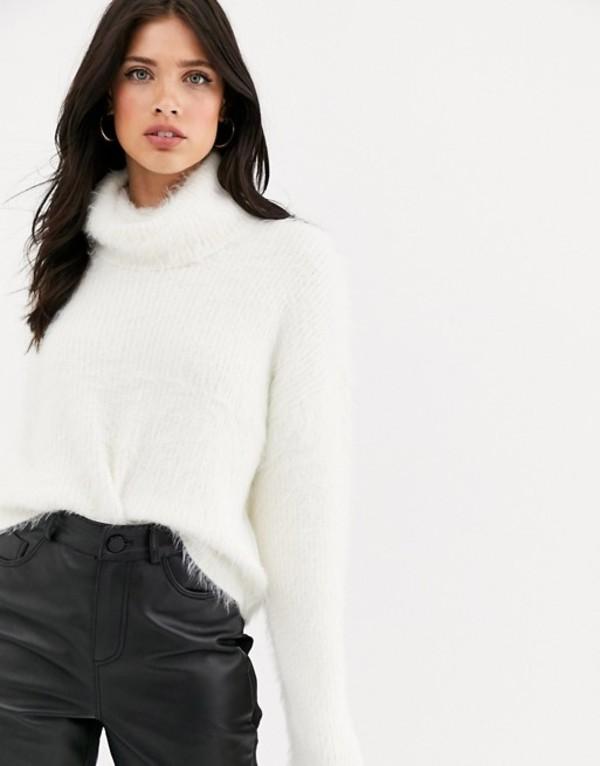 ヴェロモーダ レディース ニット・セーター アウター Vero Moda roll neck fluffy sweater in off white White