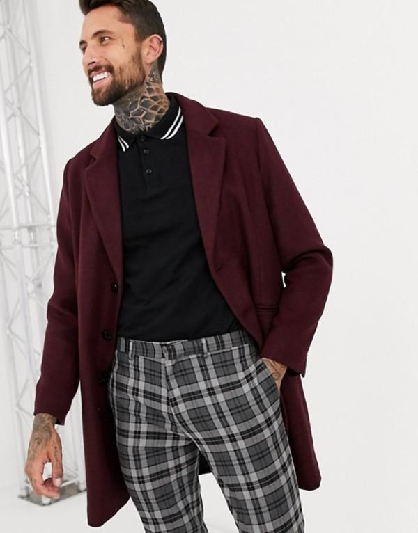 エイソス メンズ コート アウター ASOS DESIGN wool mix overcoat in port Red
