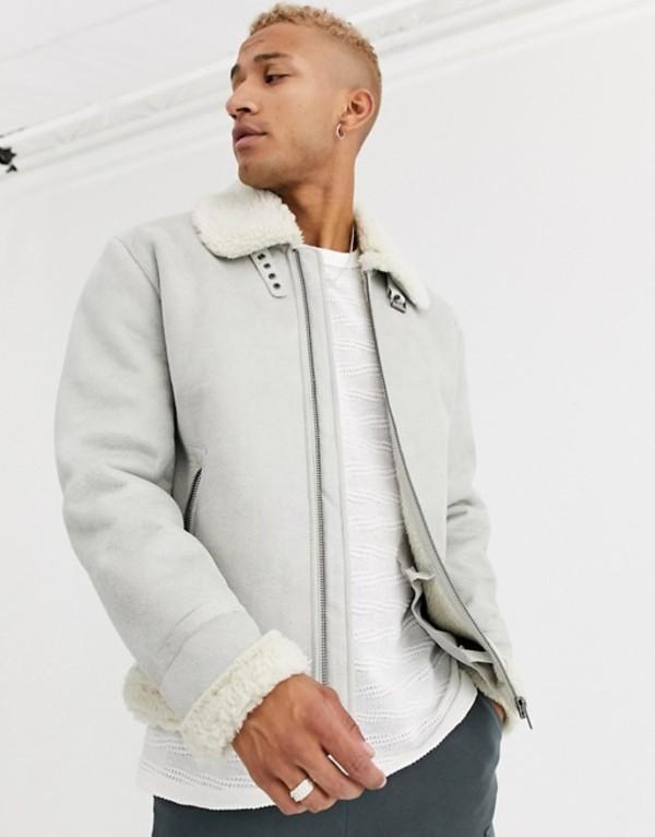 エイソス メンズ ジャケット・ブルゾン アウター ASOS DESIGN faux shearling flight jacket in stone Stone