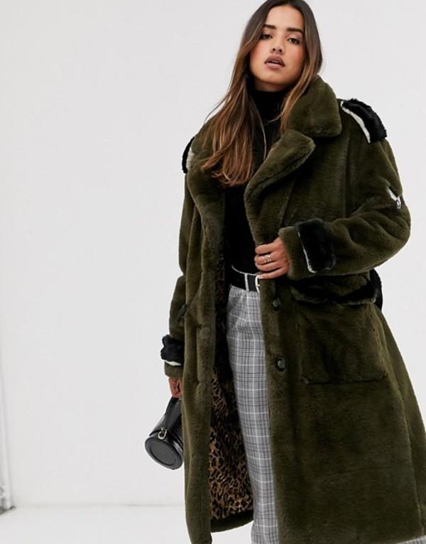 グースクラフト レディース ジャケット・ブルゾン アウター Goosecraft faux fur military coat Khaki