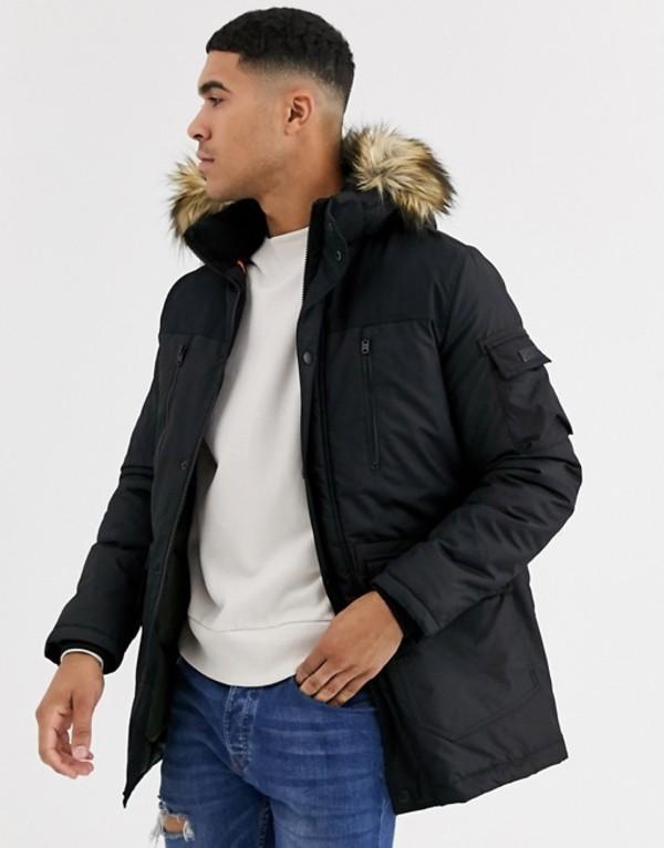 ジャック アンド ジョーンズ メンズ コート アウター Jack & Jones Core parka with removable faux fur hood Black