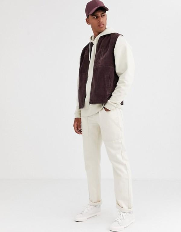 エイソス メンズ タンクトップ トップス ASOS DESIGN cord vest in plum Purple