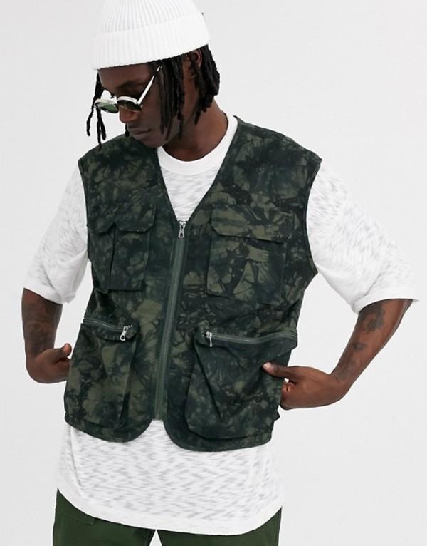 エイソス メンズ タンクトップ トップス ASOS DESIGN utility vest in tie dye print khaki Khaki