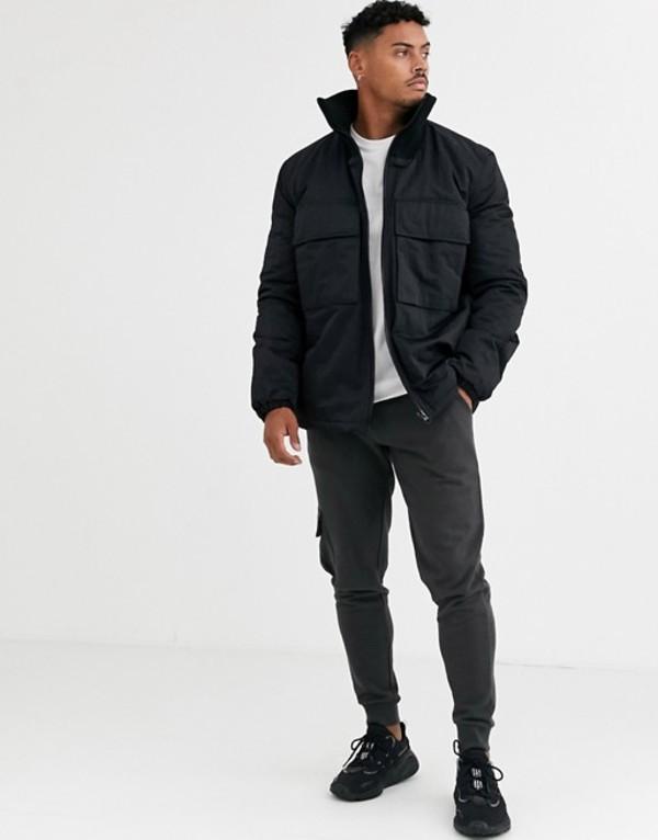 エイソス メンズ ジャケット・ブルゾン アウター ASOS DESIGN utility jacket with funnel neck in black Black