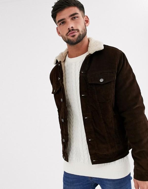 ニュールック メンズ ジャケット・ブルゾン アウター New Look cord fleece lined western jacket in brown Chocolate