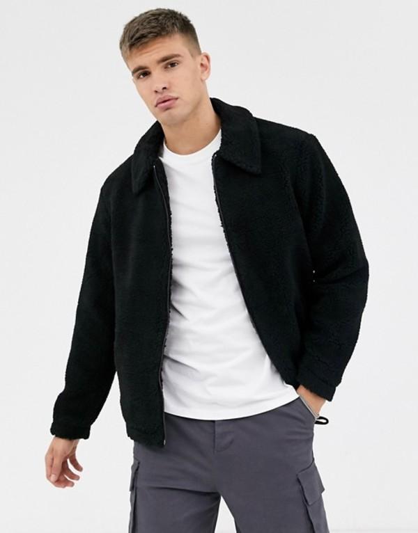 ニュールック メンズ ジャケット・ブルゾン アウター New Look borg jacket in black Black
