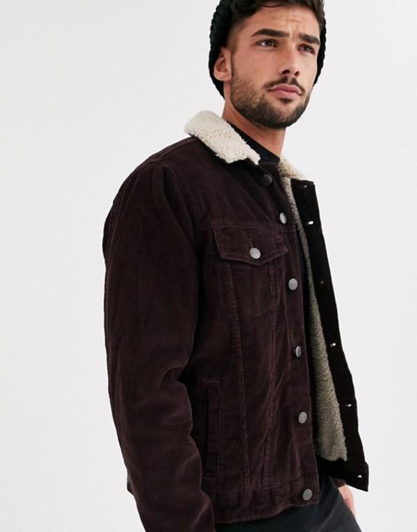 ニュールック メンズ ジャケット・ブルゾン アウター New Look cord fleece lined western in burgundy Burgundy
