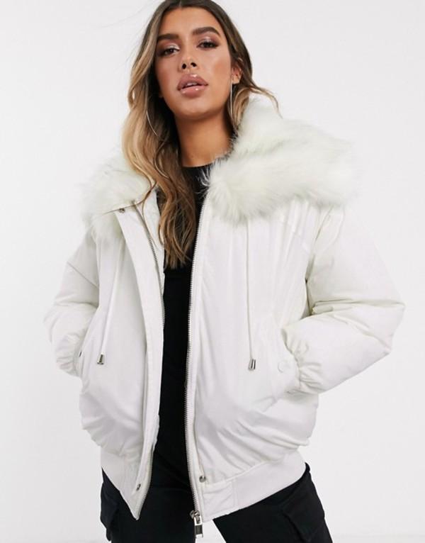 シックスジュン レディース ジャケット・ブルゾン アウター Sixth June oversized bomber jacket with faux fur hood White