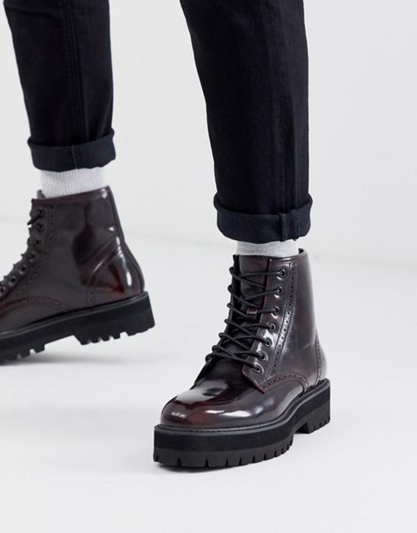 エイソス メンズ ブーツ・レインブーツ シューズ ASOS DESIGN lace up brogue boots in burgundy faux leather with raised chunky black sole Red